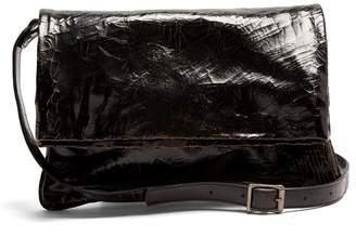 Marc Marmel North South cracked-leather messenger bag