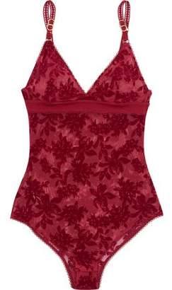 Stella McCartney Open Knit-Trimmed Flocked Tulle Bodysuit