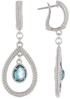 Judith Ripka Sterling Silver Classic Frontal Teardrop Blue Topaz Dangle Earrings