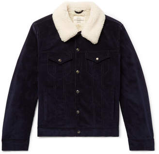 Kent & Curwen Scotney Slim-Fit Shearling-Trimmed Cotton-Corduroy Trucker Jacket