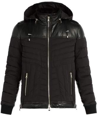 Balmain Padded Perforated Leather And Nylon Jacket - Mens - Black