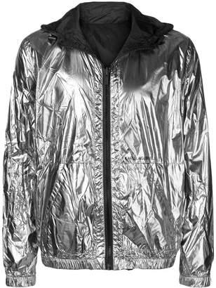 Karl Lagerfeld Paris reversible metallic rain jacket