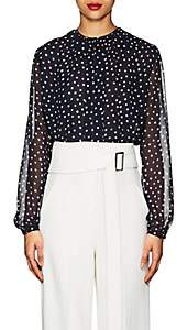 Derek Lam Women's Polka Dot Silk Georgette Blouse - Navy