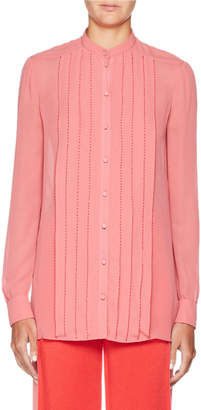 Valentino Long-Sleeve Stitched Georgette Blouse