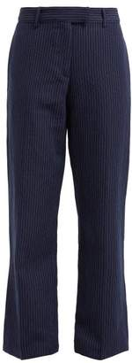 A.P.C. Cece Pinstriped Cotton Blend Twill Trousers - Womens - Navy
