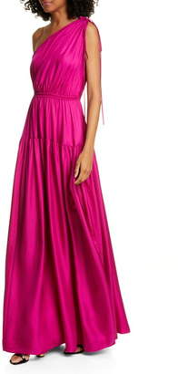 AMUR Nari One-Shoulder Silk Satin Dress