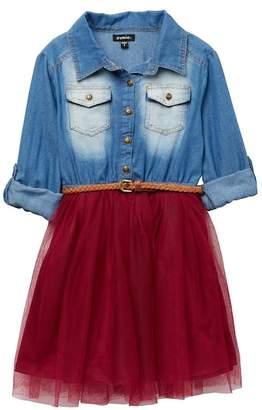 Zunie Tab LS Denim Top\u002FMesh Skirt Dress W\u002F Belt (Big Girls)