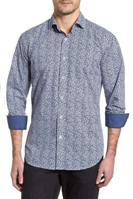 Bugatchi Rainy Day Blues Shaped Fit Sport Shirt