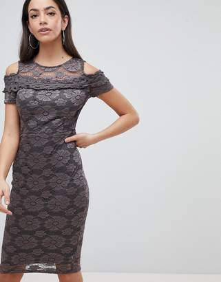 AX Paris Cold Shoulder Lace Pencil Dress
