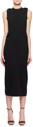 Victoria Beckham Crewneck Sleeveless Fitted Wool Knit Midi Dress