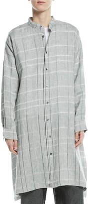 eskandar Mandarin-Collar Check Linen T-Shirt