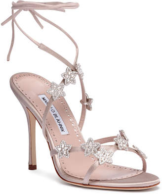 Manolo Blahnik Osaka 105 champagne satin sandals