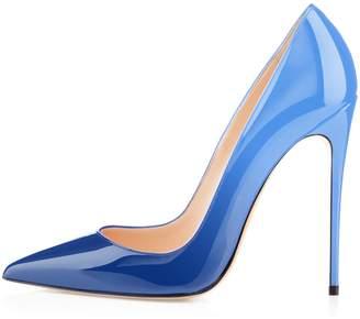 Eldof Women's High Heel Pumps Classic 4.72in Slip On Patent Pointed Toe Stilettos 12cm Wedding Party Dress Pumps US9