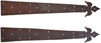Rejuvenation Pair of Wrought Iron Strap Hinges w/ Fleur de Lis Motif