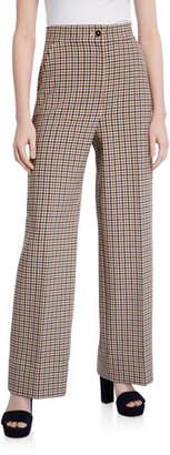 Tory Burch Plaid Wide-Leg Pants