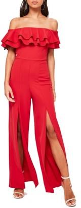 Women's Missguided Split Front Bardot Jumpsuit $93 thestylecure.com