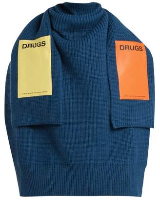 Raf Simons Sweater Inspired Applique Patch Wool Scarf - Womens - Blue