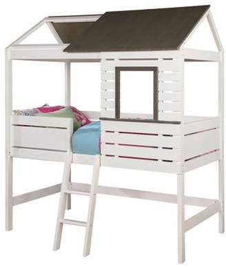 LOFT Furniture of America Hern House Inspired Twin Bed, White & Gray