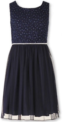 Speechless Sleeveless Navy Sparkle Lace-to-Mesh Ballerina Dress - Girls 7-16 and Plus $58 thestylecure.com