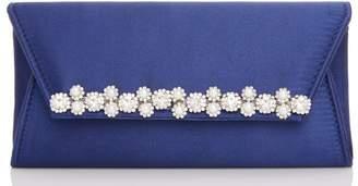 Quiz Navy Satin Pearl and Diamante Trim Bag