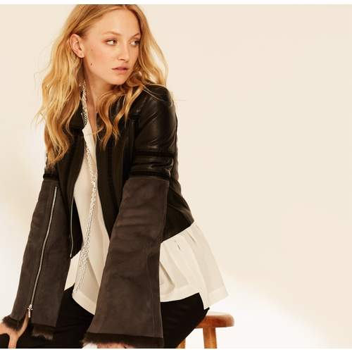 Black & Charcoal Cropped Leather Jacket