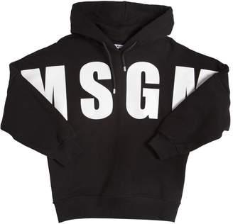MSGM Logo Printed Cotton Sweatshirt Hoodie