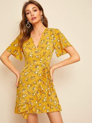 a99aed19a03 Shein Ditsy Floral Ruffle Hem Knot Wrap Dress