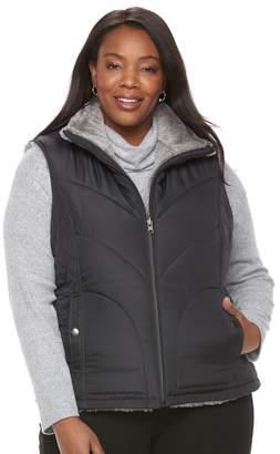 KC Collections Plus Size Quilted Reversible Vest