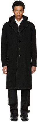Craig Green Black Wool Boucle Long Coat
