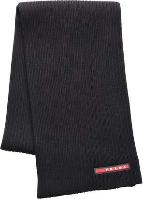 Prada logo embellished ribbed scarf