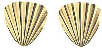 One Kings Lane Vintage Napier Gold Fan Clip Earrings - Owl's Roost Antiques