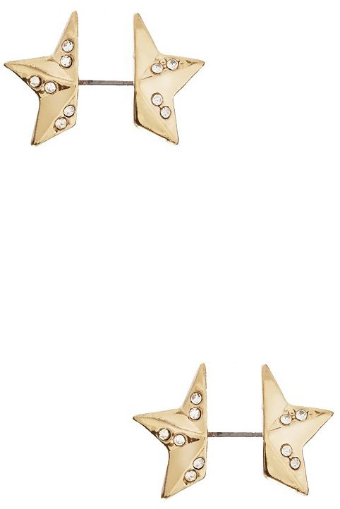 GUESS Gold-Tone Front-to-Back Star Stud Earrings