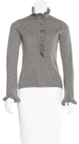 Tory BurchTory Burch Cashmere Ruffle-Trimmed Sweater