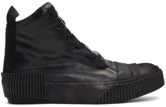 Boris Bidjan Saberi Black Leather High-Top Sneakers