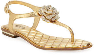 MICHAEL Michael Kors Lucia Flat Metallic Leather Thong Sandals