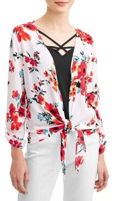 No Boundaries Juniors' Floral Printed Tie Front Blouse & Tank 2Fer