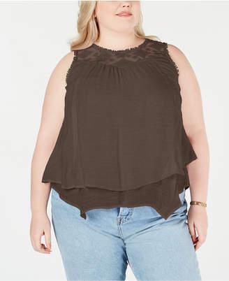 Style&Co. Style & Co Plus Size Lace-Yoke Crochet-Trim Tiered Top