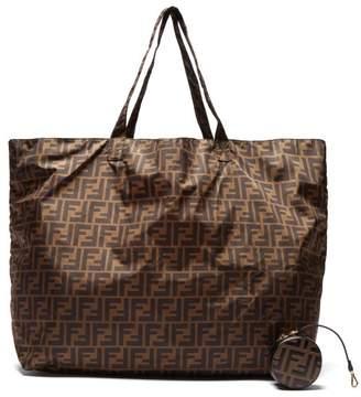 ec1bc3124c21 Fendi Ff Logo Print Leather Key Ring Nylon Tote - Womens - Black Brown