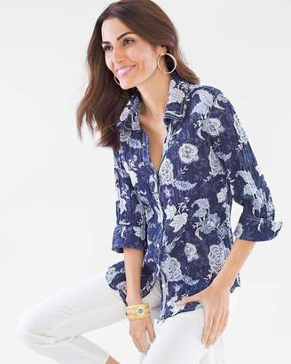 Chico's Cino For Paisley Floral Crinkle Shirt