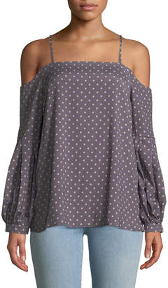 J.o.a. Cold-Shoulder Polka-Dot Zip-Front Blouse