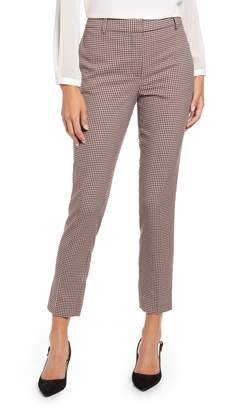 1 STATE 1.STATE Mini Houndstooth Check Flat Front Slim Pants