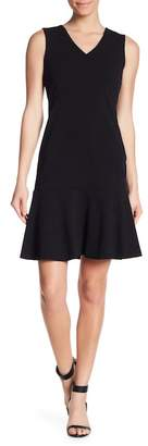 Modern American Designer V-Neck Flutter Hem Scuba Crepe Dress