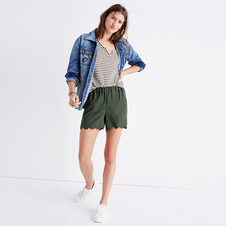 Scallop-Hem Pull-On Shorts $55 thestylecure.com