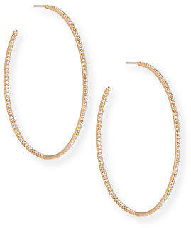 Roberto Coin 55mm Micro Diamond Hoop Earrings, 2ct
