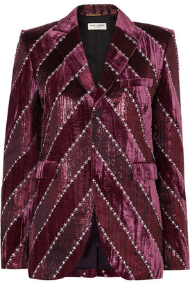 Saint Laurent Embroidered Velvet And Silk-blend Lamé Blazer - Purple