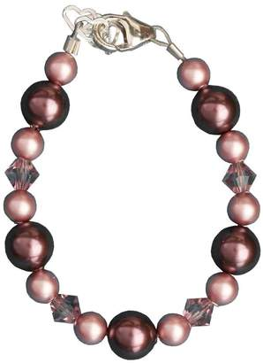 Swarovski Crystal Dream Luxury Purple and Rose Simulated Pearls and Crystals Festive Sterling Silver Toddler Girl Bracelet (BPUP_M+)