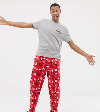 Asos DESIGN Holidays pyjama set with pigs in blankets design