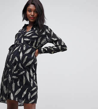 Mama Licious Mama.Licious Mamalicious metallic foiled sheer shirt dress