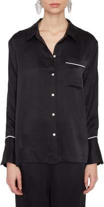 Asceno Black Silk Pajama Top
