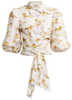 Ganni Weston Equestrian Print Waist Tie Blouse - Womens - White Multi